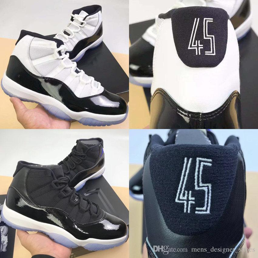 11 XI Space Jam Bred Number 45 Concord Basketball Shoes Men Women Shoes 11S Platinum Tint Grey Suede Gamma Blue Sports Sneakers 36-47