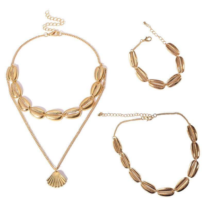 Chaîne Ras Set Bracelet Cadeaux Coquillage Boho Cou Femmes Double Party Collier Du Bijoux Doré 1 Charmes Beach Couche Bohême Yb7mgI6vfy