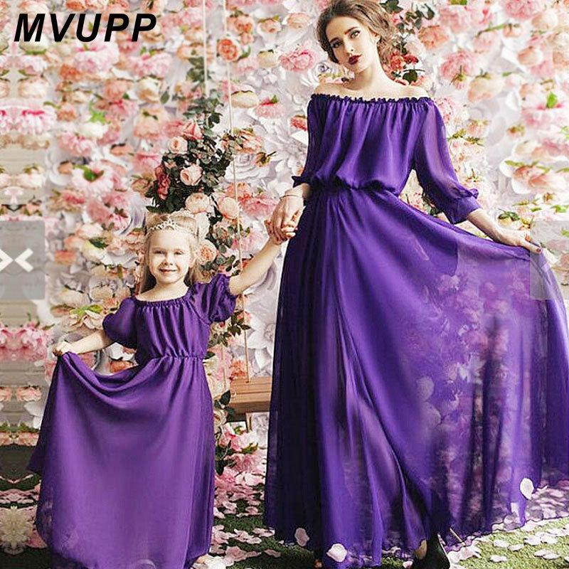 ad171718b0 Mother Daughter Dresses Mommy And Me Family Matching Clothes Look Mom Mum  Dress Outfits Clothing Sister Children Kids Girls 2019 Y19051103