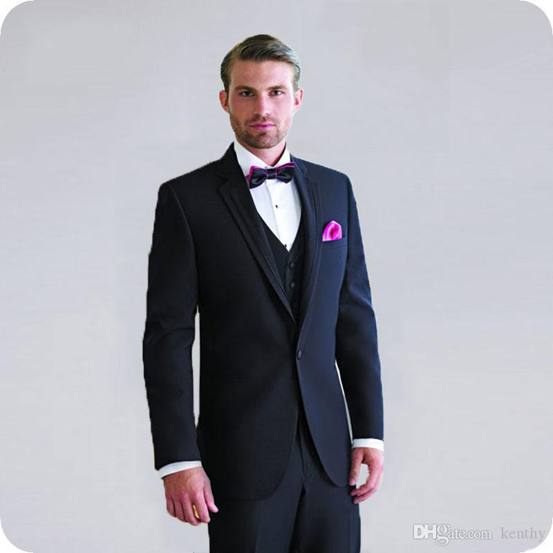 Latest Coat Pant Designs Navy Blue Groom Wedding Tuxedo Men Suit Blazer Man Jacket 3Piece One Button Slim Fit Groomsmen Wear Costume Homme