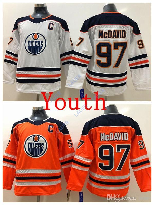 Youth Connor McDavid Edmonton Jersey Oilers 97 Connor McDavid Stitched Ice Hockey  White Orange Kid Jerseys UK 2019 From Lauer 76f9290f3