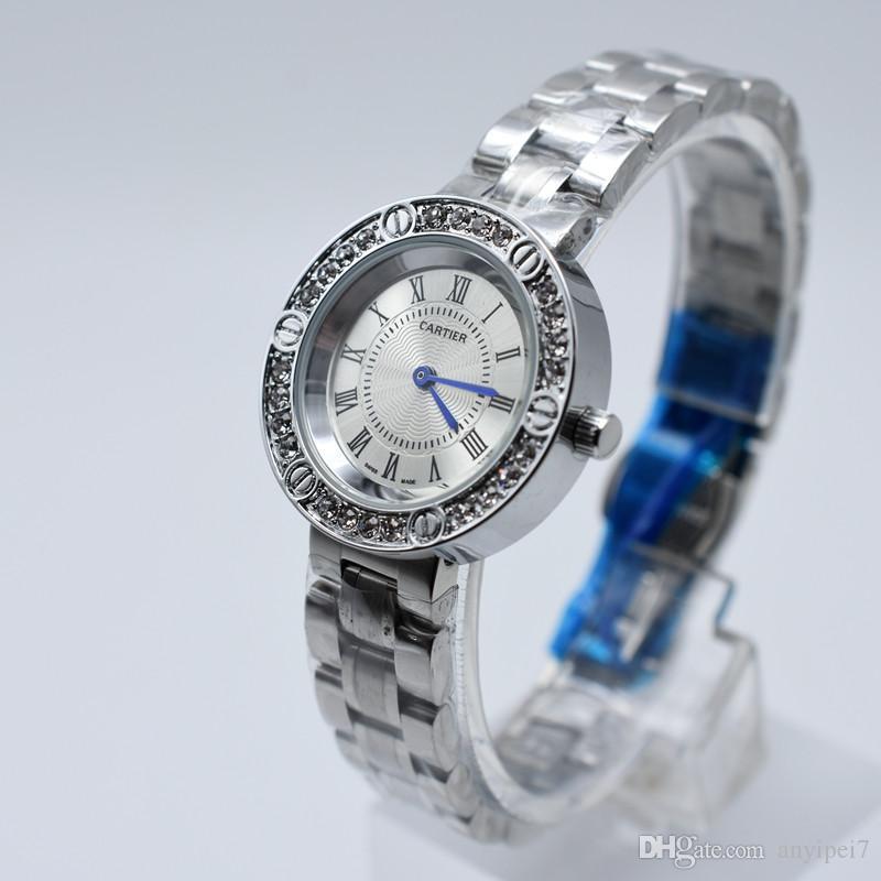 eb52cffdc191 Reloj de diamantes aaa marca de lujo relojes de diseño para mujeres Relojes  de pulsera de acero inoxidable Reloj plateado de moda montres pour hommes