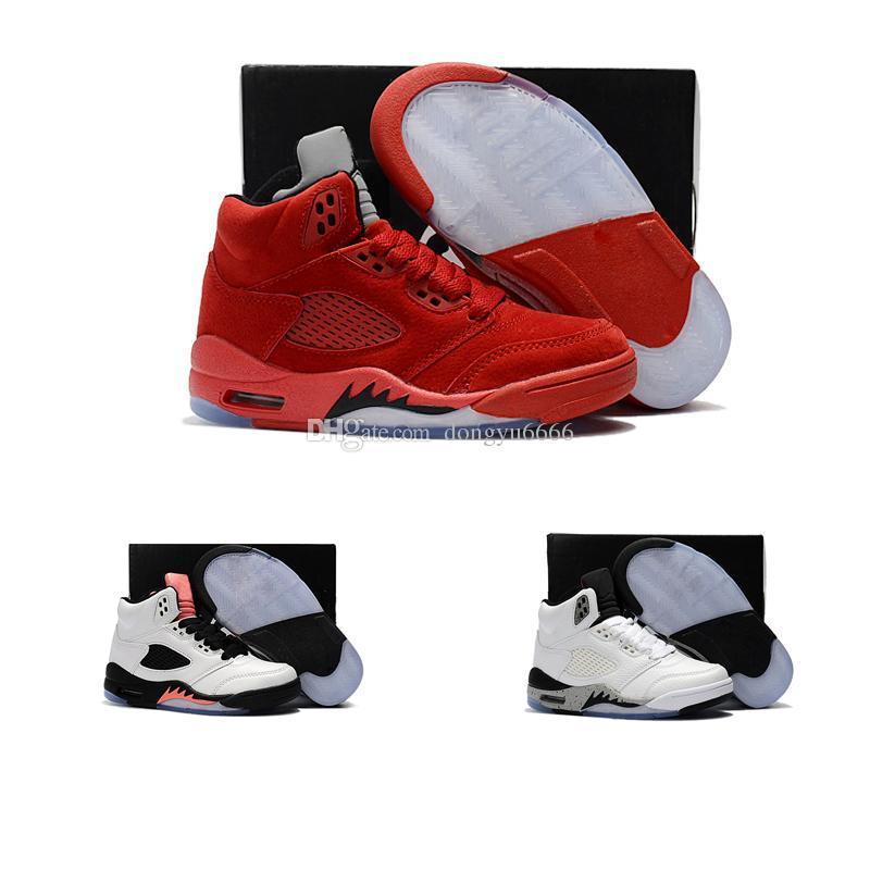 bca9a3c9043c Acheter Nike Air Jordan 5 11 12 Retro Enfants Baskets Enfants Chaussures De  Basket 2018 Pour Garçons Filles Noir Rouge Blanc 11 XI Haute Qualité  Sneakers ...
