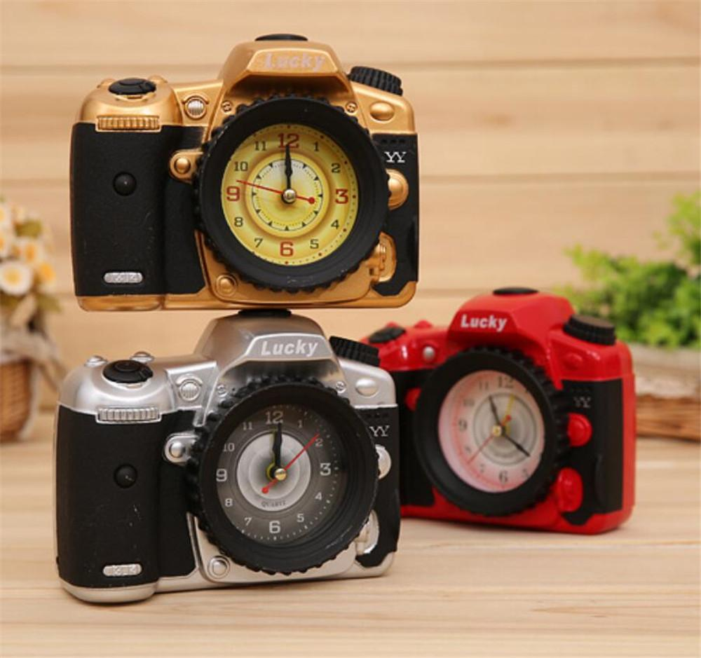 Mini Creative Camera Shape Needle Clock Alarm Clock for Office Home Decor Craft Creative Gift for Boys, girls A2190c