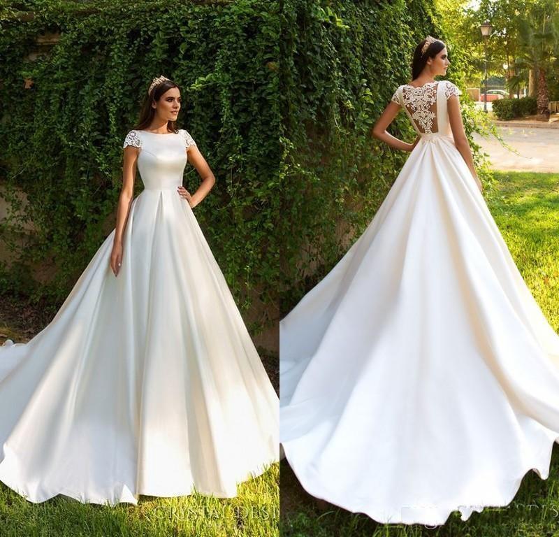 Discount Elegant Short Sleeve A Line Satin Court Train Wedding Dresses 2018  Gorgeous Appliques Princess Bride Gown Vestido De Noiva Wedding Princess  Dresses ... ad2aeaf6bc81