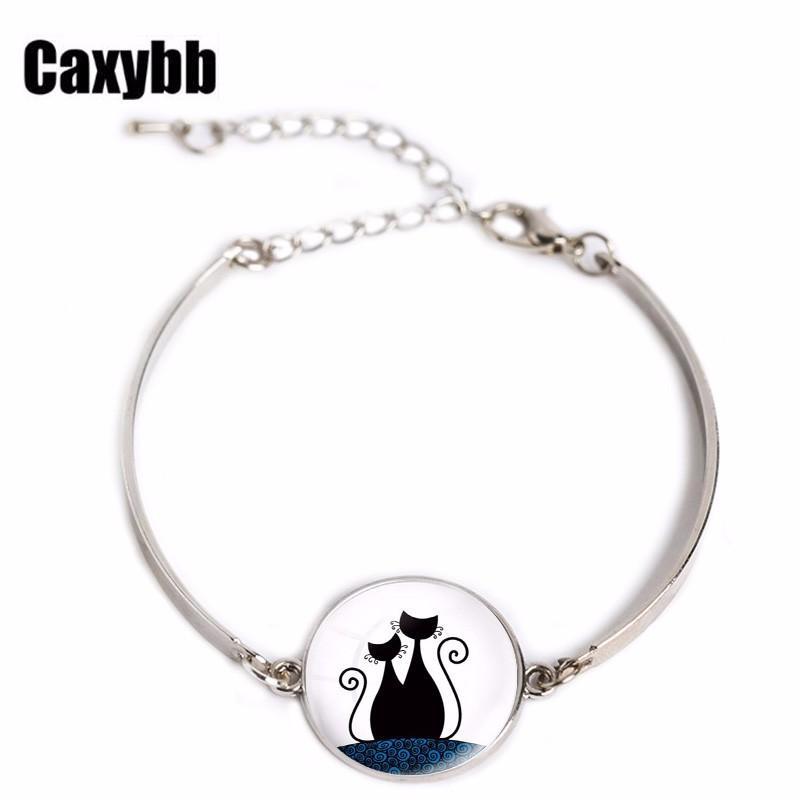 Cartoon Cats Bracelet animal cat jewelry silver glass Art picture charm bracelet bangle Women jewelry for wedding bridal