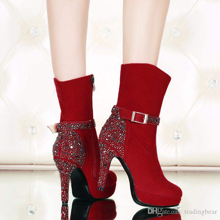 size 33 to 41 with box red wedding shoes boots studded rivets rhinestone high heels woman ankle booties designer pumps