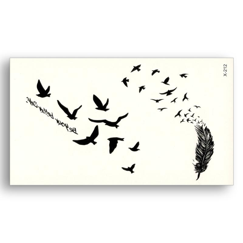 595d73dc4 Black Tattoo Stickers Removable Water Transfer Fake Tattoos Disposable  Waterproof Temporary Sticker Flying Birds Feather D19011203 Washable Tattoos  Best ...