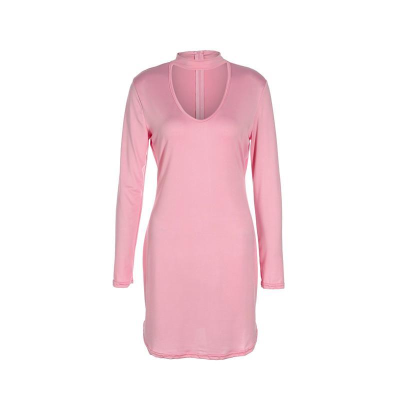 2018 Nouveau style Office Lady Printemps Eté Femme Bandage moulante à manches longues col en V massif Soirée Club Short Mini robe