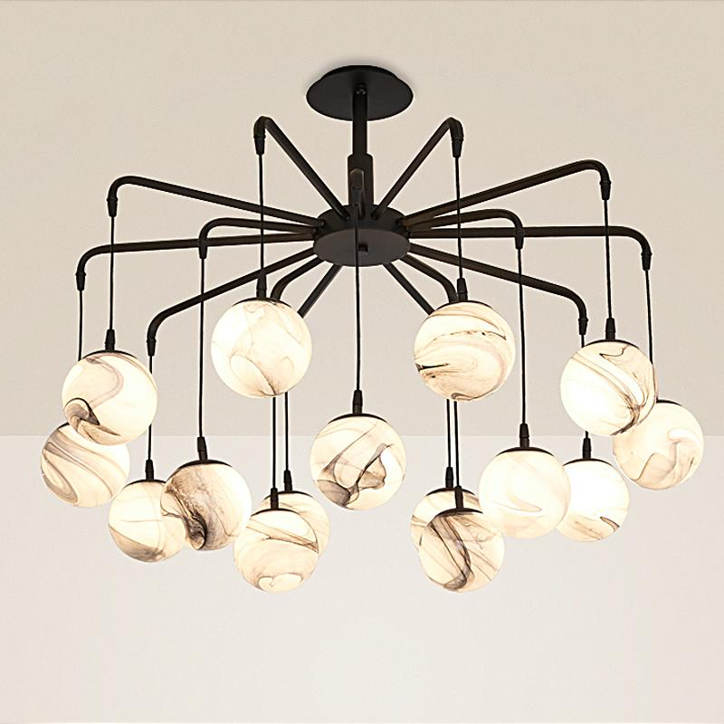 Ceiling Lights & Fans Led Hanging Lamps Novelty Chandelier American Style Bedroom Chandeliers Iron Glass Fixtures Nordic Restaurant Lighting