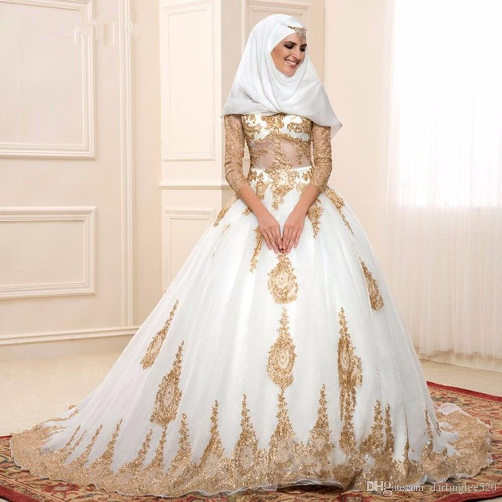 Muslim Wedding Dress Ball Gown High Neck Illusion Long Sleeve Organza Applique Lace Sweep Train Luxury Dubai Arabic Wedding Bridal Gowns