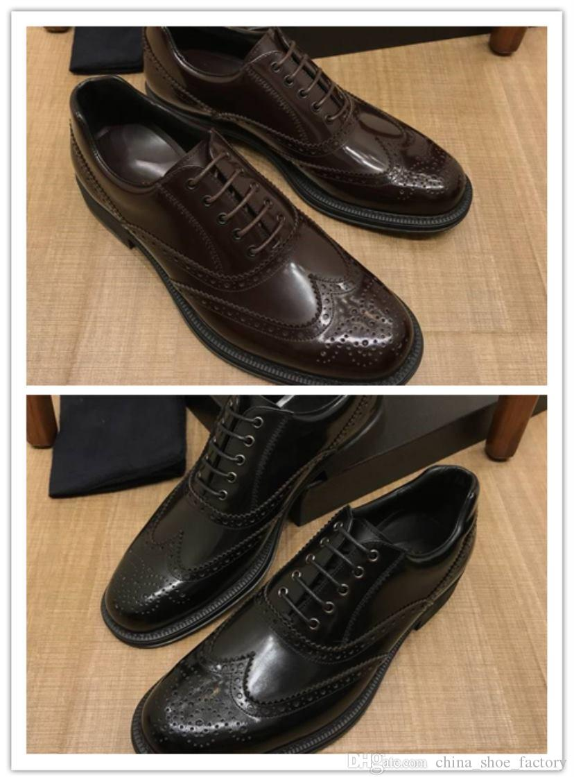 c1d375b2bf85 High-end custom brand men's shoes imported pearly lustre Genuine leather  Comfortable breathe freely Men's Business dress shoes