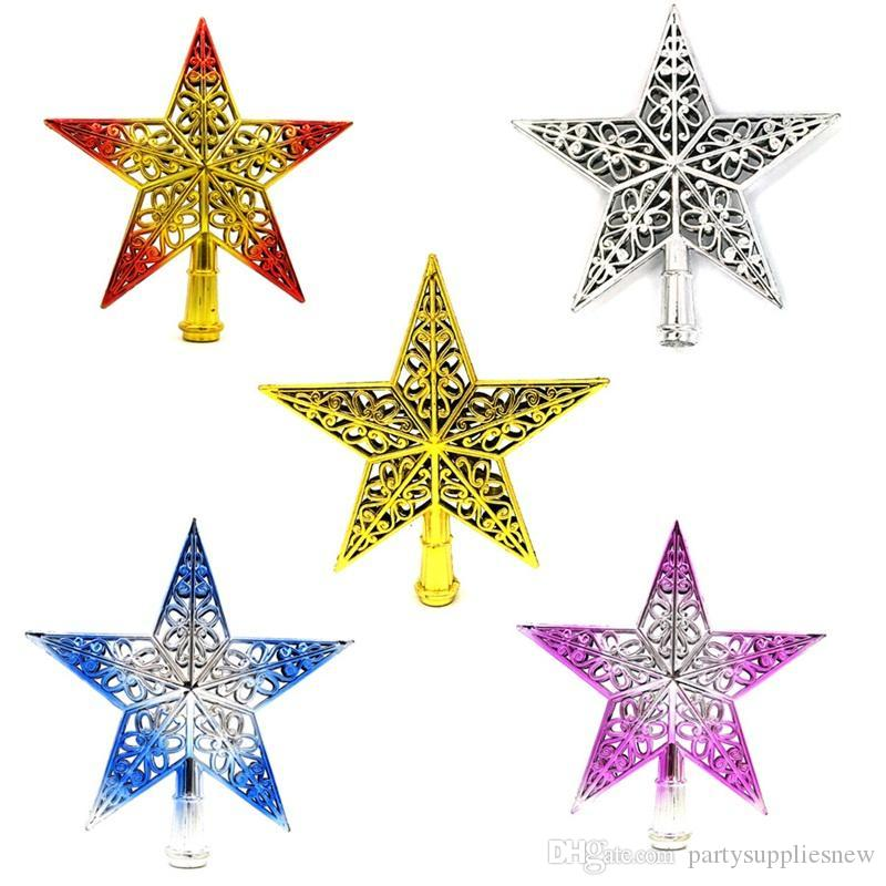Popular Christmas Tree Star Topper Ornament Plastic Hollowing Out Decorative Five Pointed Stars For Party Decorations 20cm