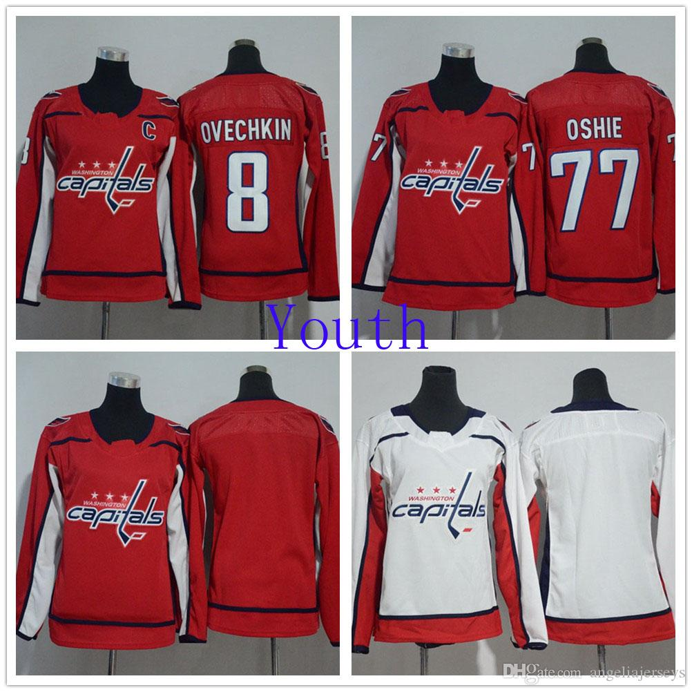 size 40 5dff8 2cc91 Youth Washington Capitals 8 Alex Ovechkin White Road Hockey Jersey 77 T.J  Oshie Blank NHL Jerseys Red Home