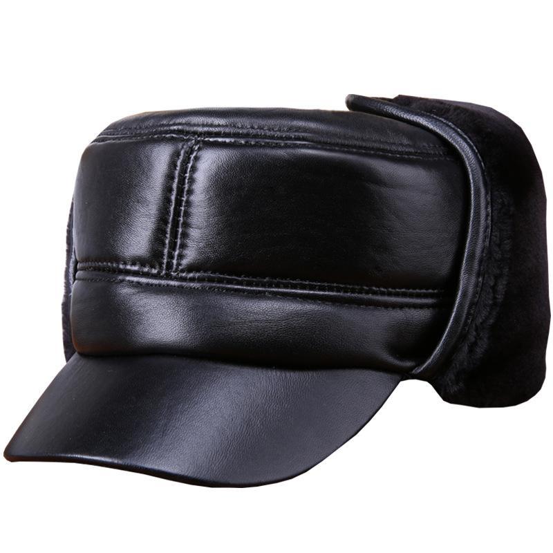 2018 New Winter Senior Men Hat Genuine Leather Flat Casquette Hat Big Small  Head Black Sheepskin Earflap Furry Bomber Men UK 2019 From Ancient88 99f31ca60