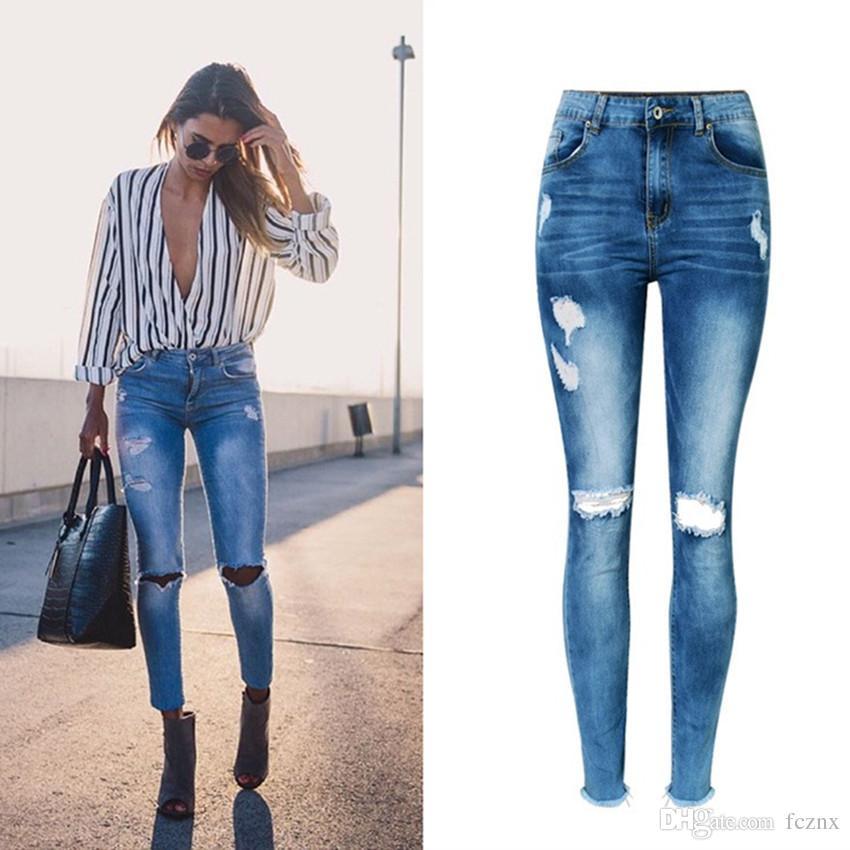 49919c4d85 Compre 2019 Ropa De Mujer Cintura Alta Ajustada Elástica Lavada Puro  Algodón Jeans Mujer Casual Moda Agujero Flaco Pantalones De Lápiz De  Mezclilla 6628   A ...