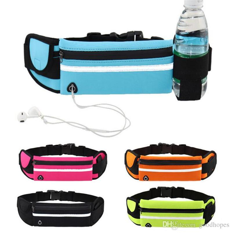 bf5e1b941aa3 Running Belt Waist Bag Fitness Belt Waist Pack with Water Bottle Holder  Earphone Hole Waterproof Funny Pack for Running Cycling