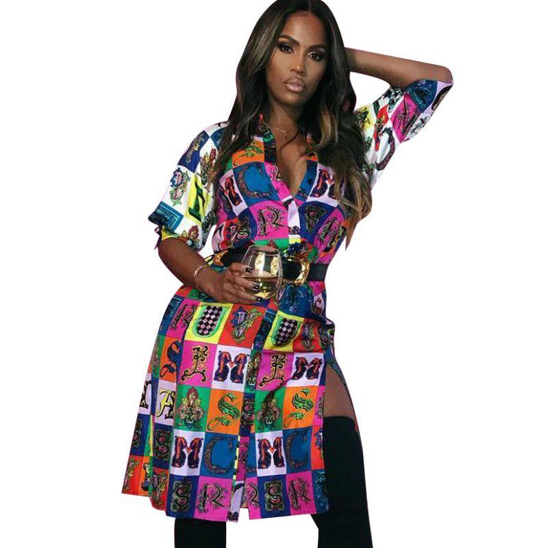 205ec60366ab1 New Print Ladies Dress Sexy Nightclub Short Dress Loose Long Sleeved Casual  Shirt Dress Fashion Ladies Streetwear Oversized Shirt Dresses Cute Dresses  Women ...