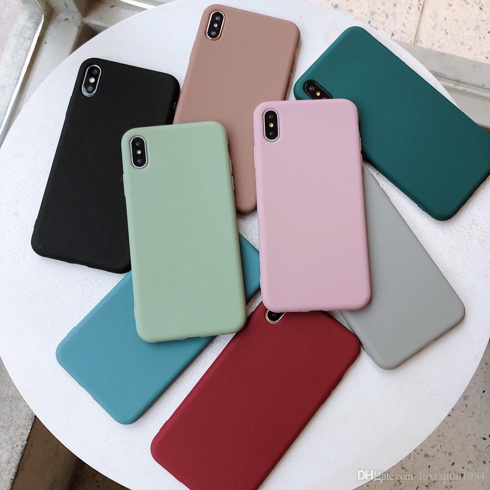 Solid Color Silicone Couples Cases For iphone XR X XS Max 6 6S 7 8 Plus Cute Candy Color Soft Simple Fashion Phone Case NEW