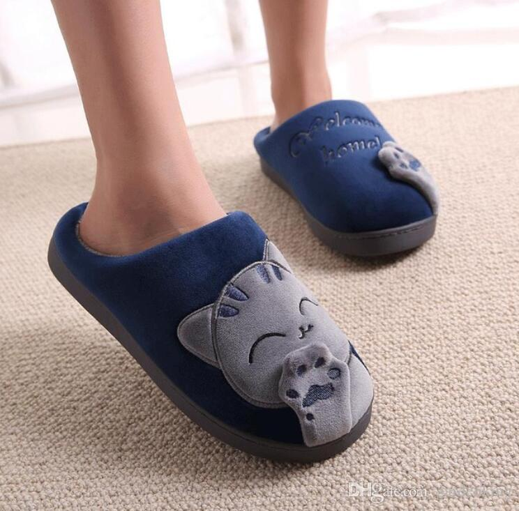 eb5c8708395 2019 Men Winter Home Slippers Cartoon Cat Shoes Non Slip Soft Winter ...