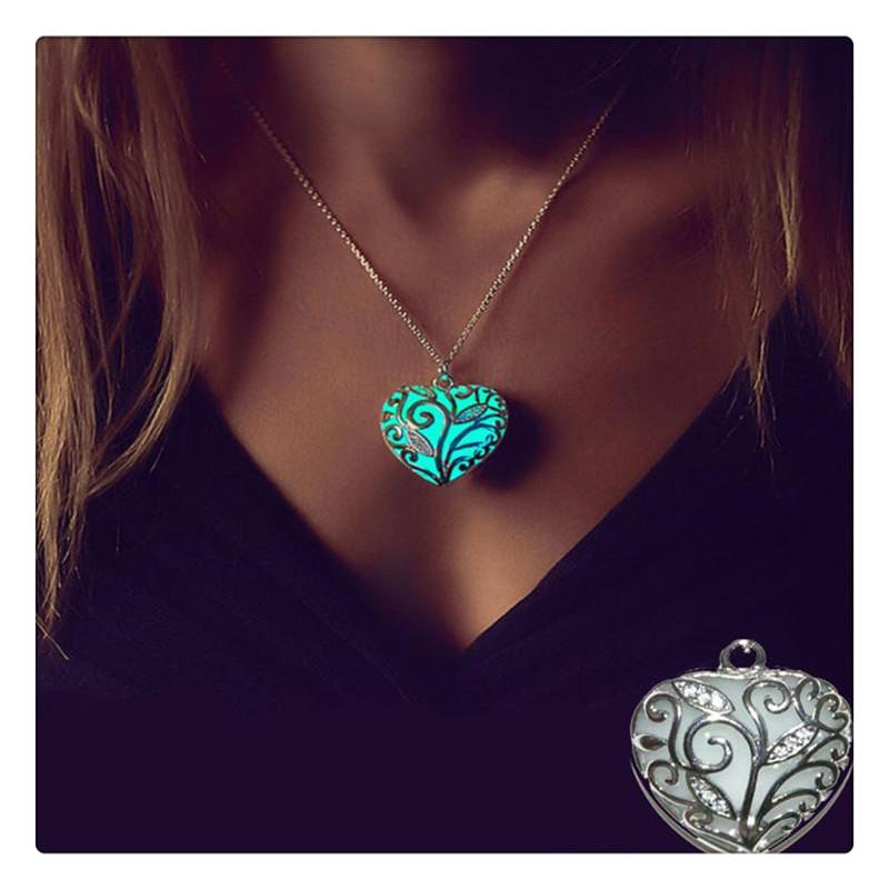 Fashion Magic Pendant Necklace Heart Glow In The Dark Necklaces For Women Girls Match With Suitable Apparel For Different Occasion