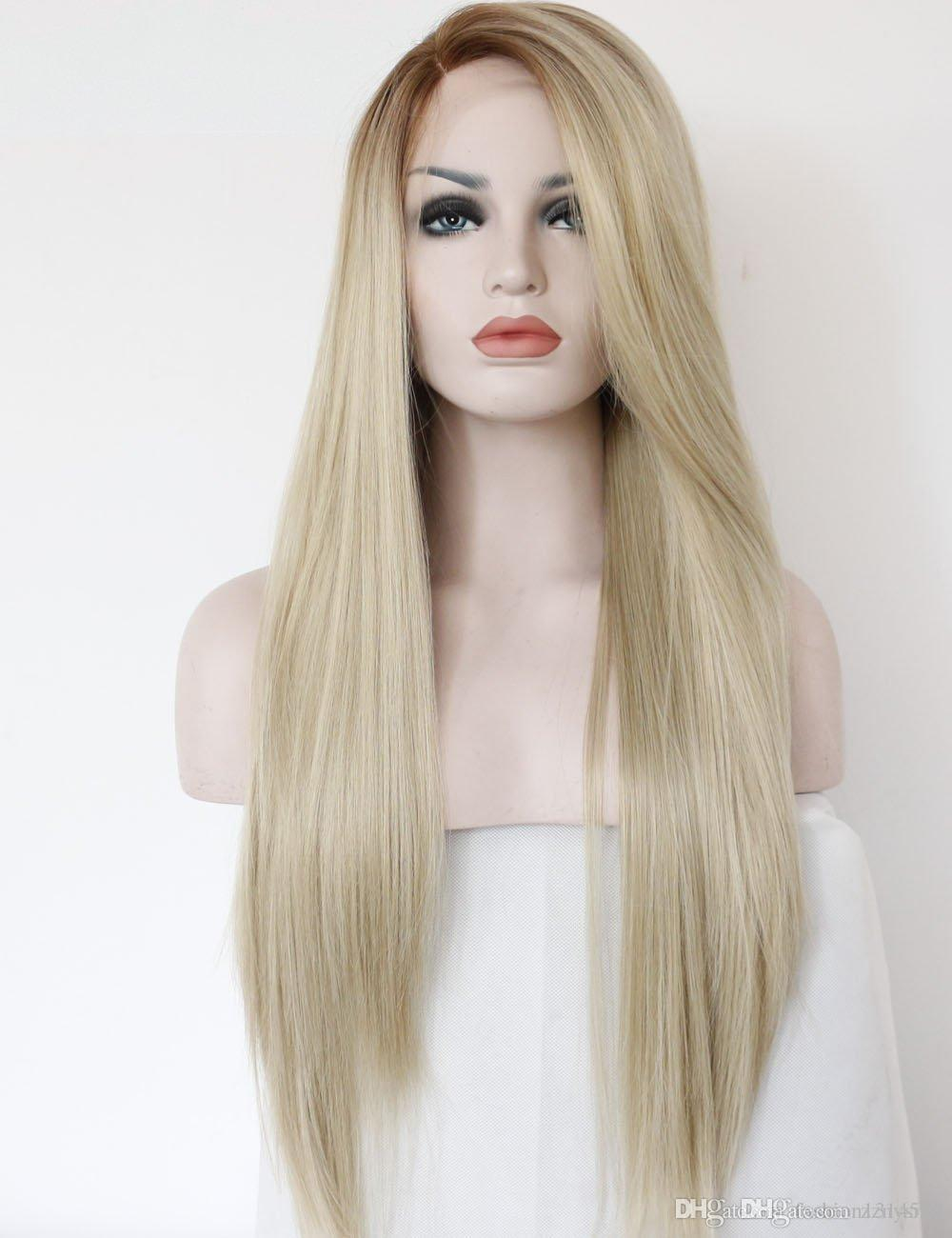 Fashion Gradual Colour Golden Hair Non-gel Front Lace Wig Two Colours Light Brown Long Natural Straight Hair High Temperature Resistant Synt