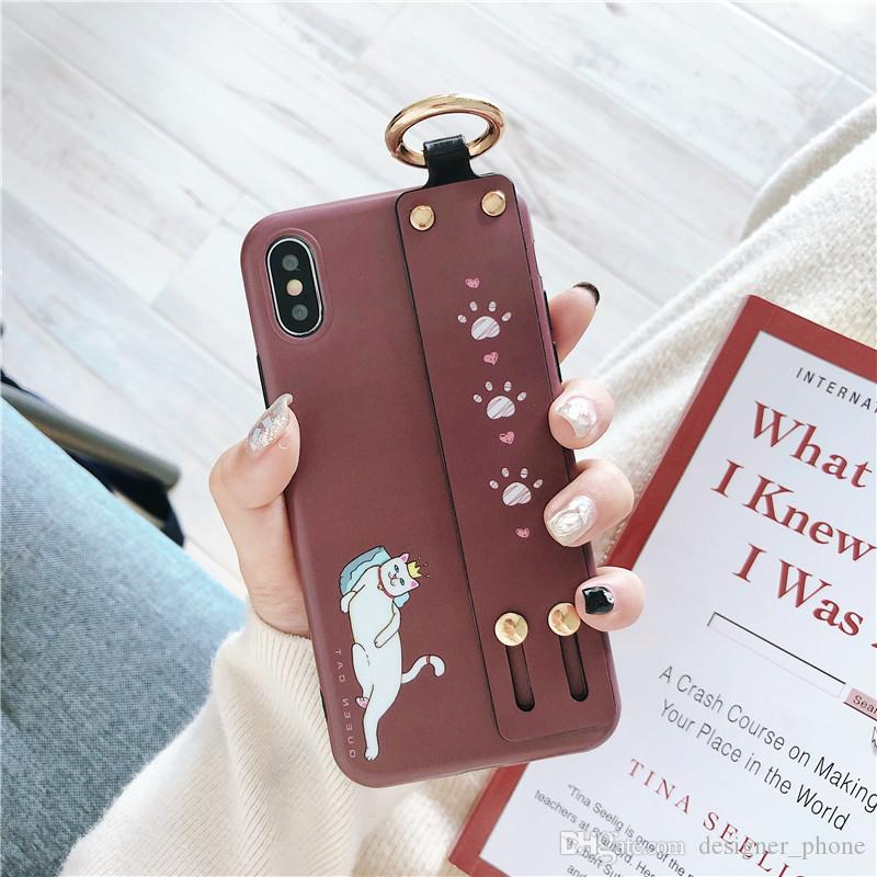Coque Fantaisie Cartoon pour Coque Iphone XS Dragonne Anti-Goutte Coque de Protection pour Iphone 8 Plus X XR XS MAX Coque Dur Cuir PU