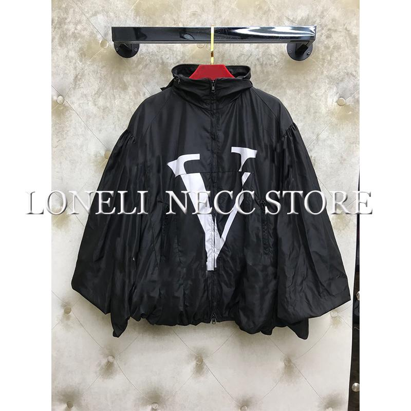 Autumn Loose A-line female windbreaker Print Jacket Pocket Zipper Hooded Bomber Jacket Black Letter Coat Oversize Basic