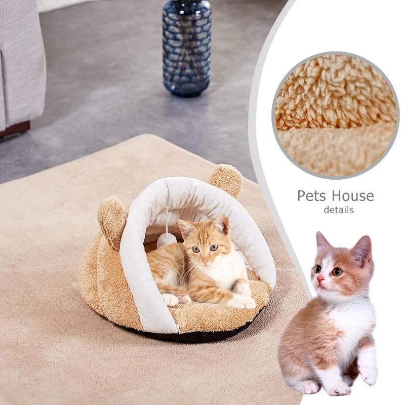 Cartoon Pet Bed Round Kitten Sleeping House Puppy Dogs Kennel Detachable Washable Warm Soft Cat Mat With Plush Ball Toy Home & Garden