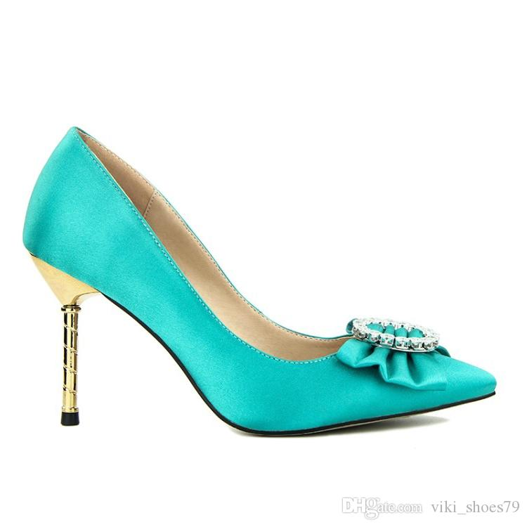 Royal Sky Blue Satin Zapatos de vestir para mujer Punta estrecha Damas Bombas Stilettos Tacones altos Slip on Zapatos OL maduros para damas 2019
