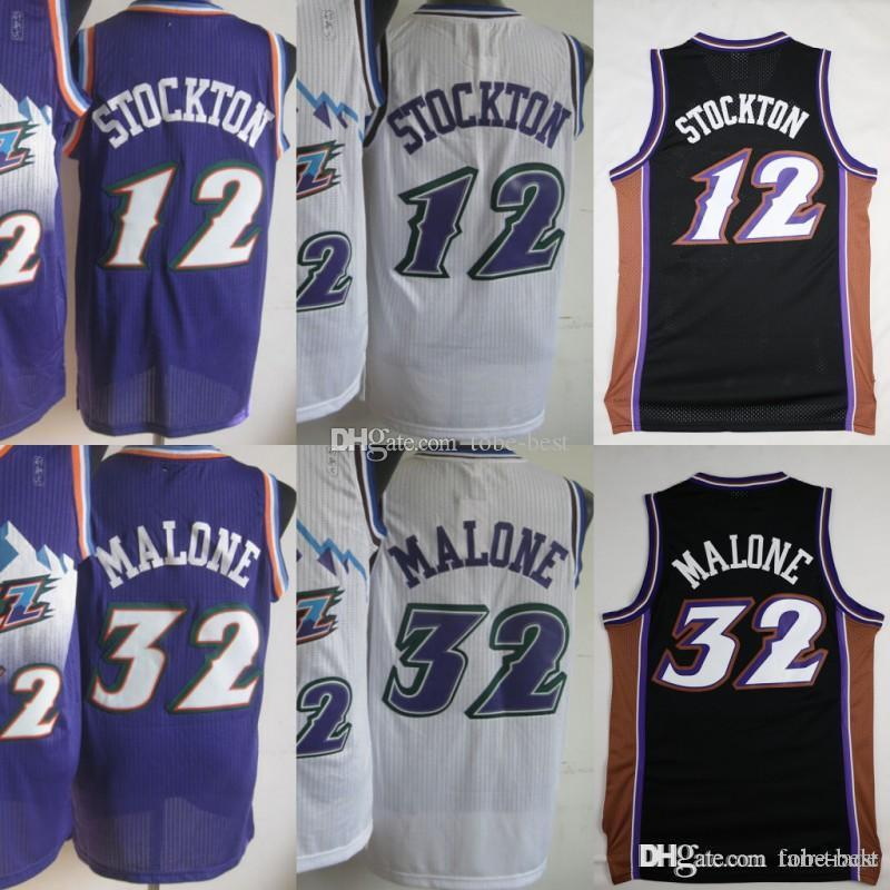 7286997fc 2019 Utah Basketball 12 John Stockton Jazzs Jerseys Men Purple White Color  32 Karl Malone Jersey Vintage Uniforms All Stitched High Quality From Tobe  Best