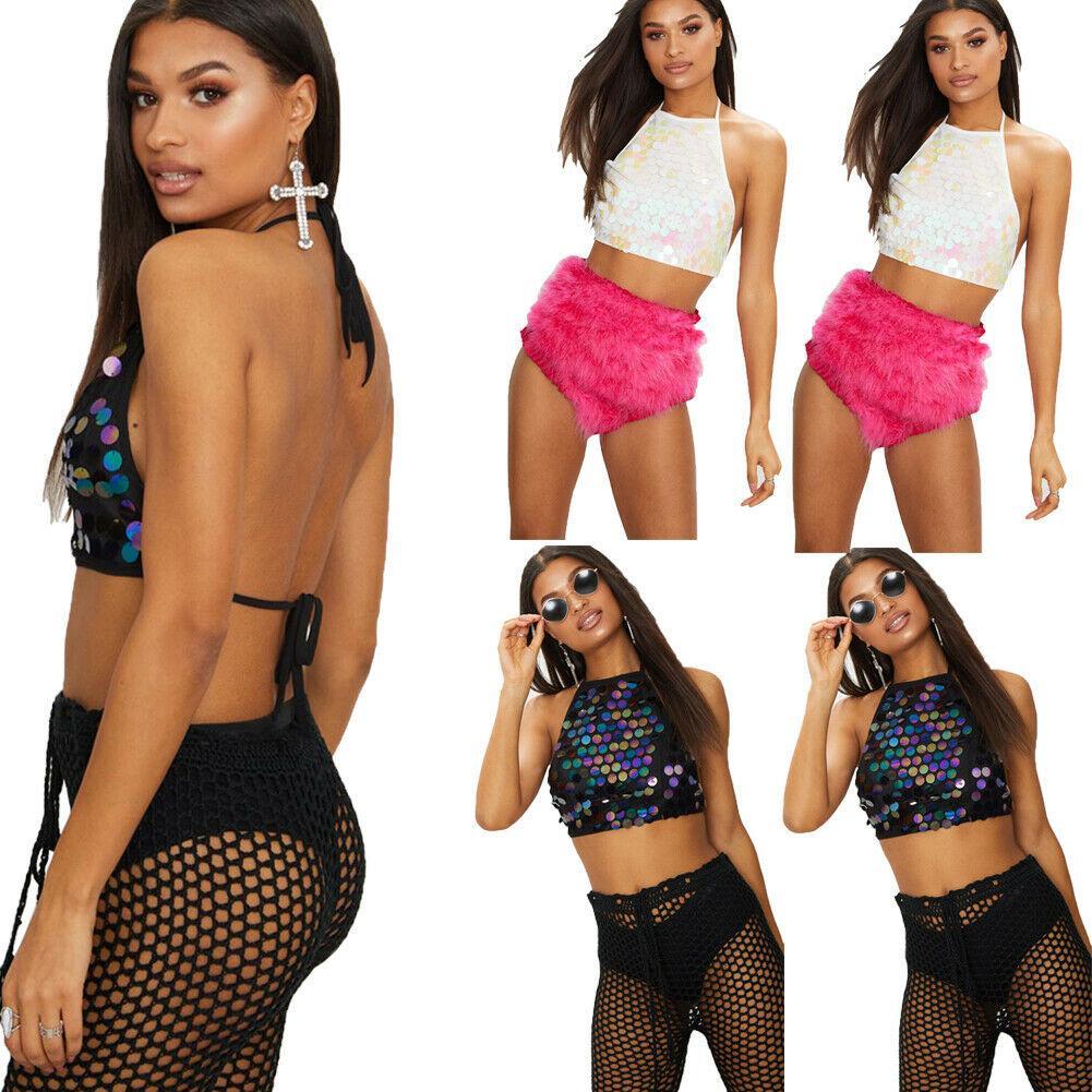 Frauen Mädchen Pailletten Sexy Weste Tops Crop Tank Tops Tube Tops Bustier Clubwear Mode-Partei-Abend Camis Sommer Leibchen