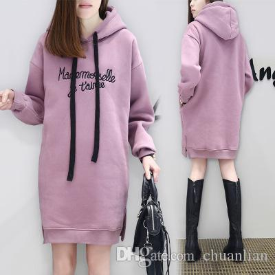 bd9ff819e 2019 DILANE Long Hoodies Women 2018 Winter Casual Solid Hooded Sweatshirt  Girls Hoodie Dress Streetwear From Chuanlian, $8.05 | DHgate.Com