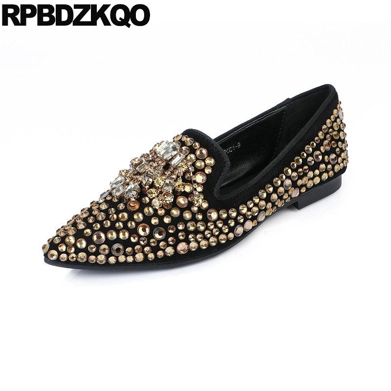Suede Women Dress Shoes Gold Chinese Diamond Pointed Toe Sparkling