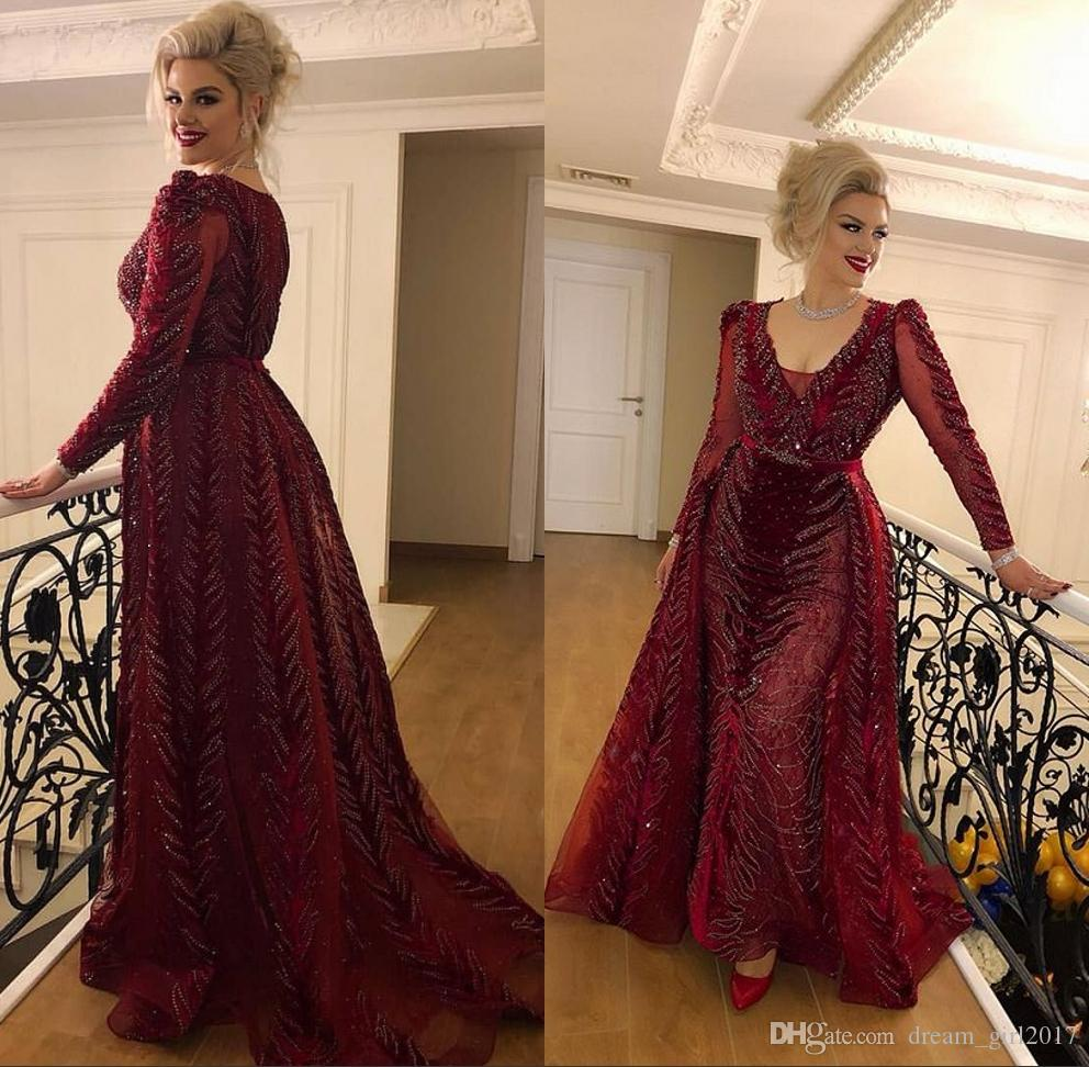 Wine Red Elegant Evening Formal Dresses 2019 Beaded Formal Dress Evening Wear Long Sleeve Plus Size Prom Gowns robe de soiree Abendkleider