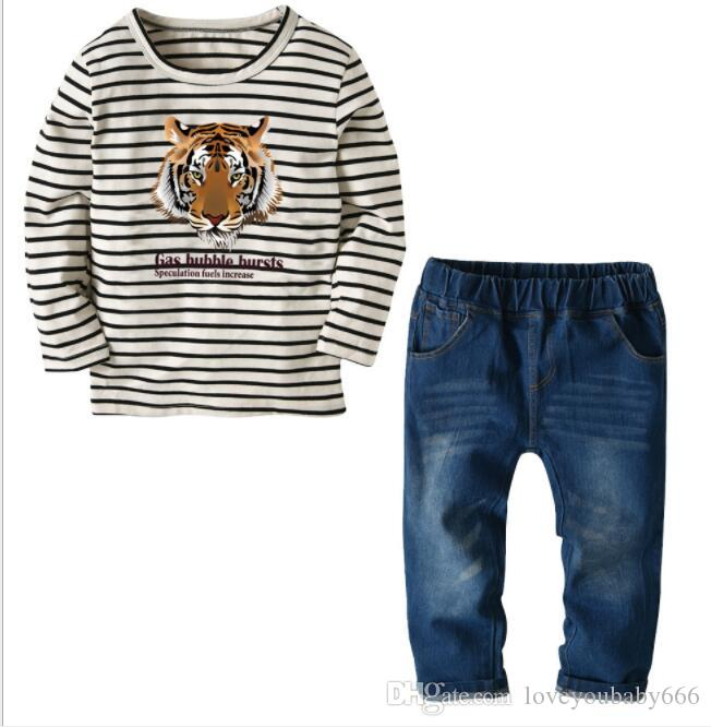 2019 New Best-selling Children's Suit Striped Long Sleeve T-shirt and Jeans for Spring and Autumn Sales