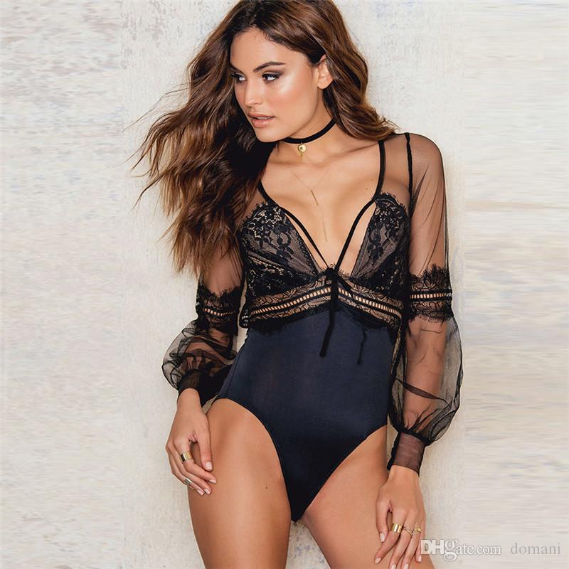 b98f5218817f 2019 Jumpsuits Women Jumpsuits T Shirts Rompers Women Clothes Lingeries  Summer Winter Mesh Long Sleeve Bodysuits Sexy Club New Drop Shipping From  Domani