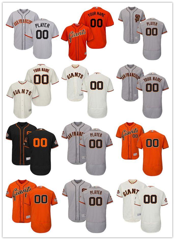 214be1e57a2 Compre San Francisco Giants Majestic Ivory Home Orange Para Hombre Road  Grey Road Cream En El Campo 60th Season Patch Flex Base Custom Jersey A   20.31 Del ...