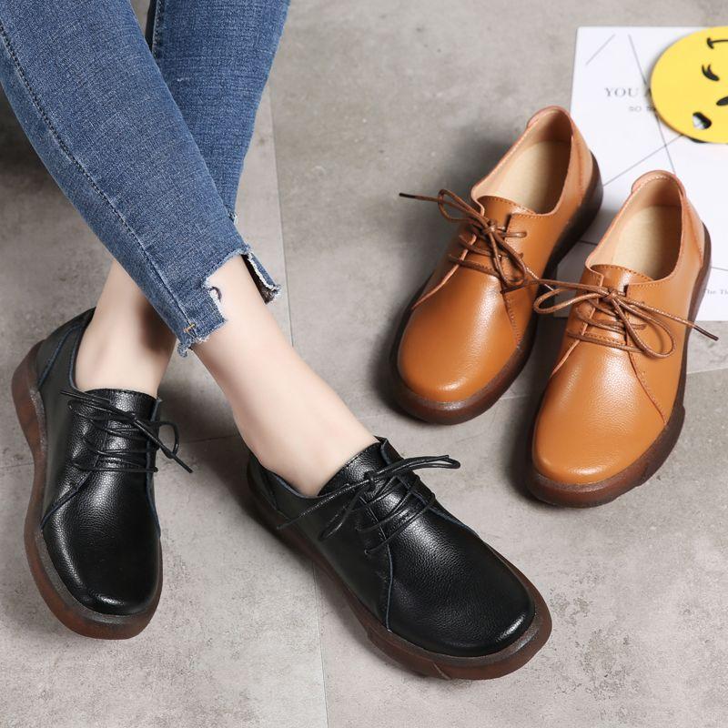 b496954f2deab Compre Zapatos De Vestir Para Mujer De Cuero Genuino De Todo El Fósforo  Marrón Negro Piel De Vaca Parte Superior De Tacón Con Cordones Hasta Zapatos  De ...