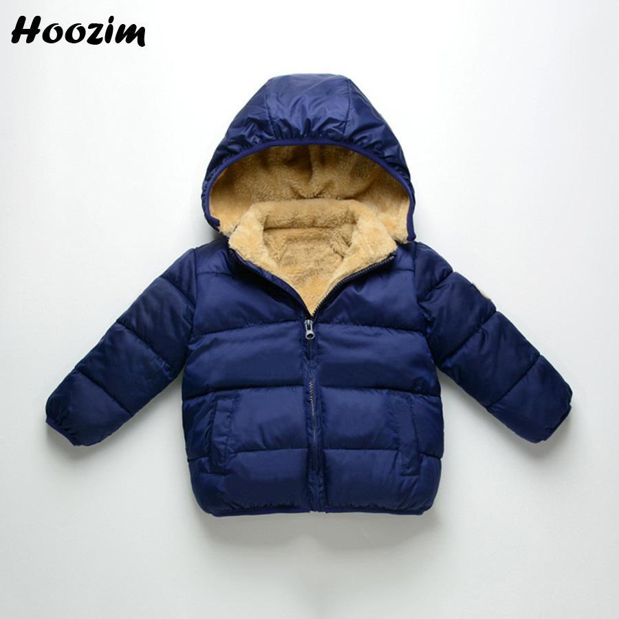 dbf4a4813 Boys Jacket Fashion Autumn Blue Warm Coat Kids Casual Winter Hooded ...