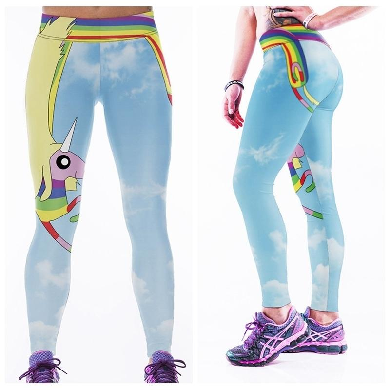 1fc32b7e5a954 2019 Workout Yoga Pant Sports Leggings Woman Gym Trousers Bodybuilding  Elastic Capris High Waist Rainbow LNASlgs From Ixiayu, $27.36 | DHgate.Com