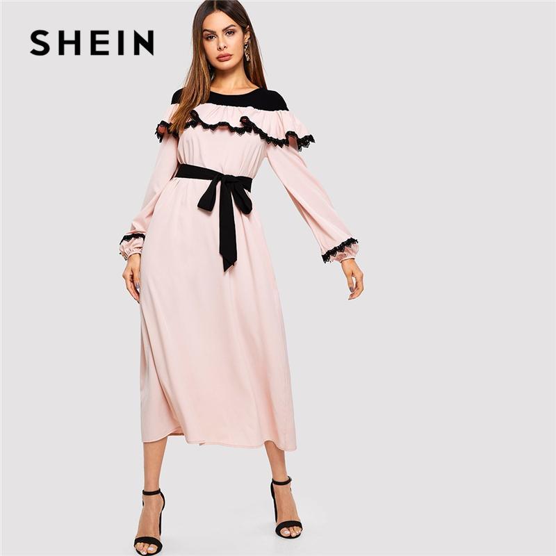 7c0cd202ed SHEIN Abaya Pink Lace Applique Ruffle Embellished Belted Maxi Dress Women  2019 Spring O Neck Long Sleeve Vintage Elegant Dresses UK 2019 From  Yuanchun, ...