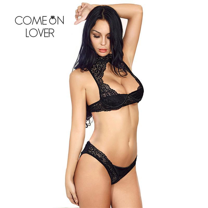 schnelle Farbe Fabrik authentisch neueste kaufen Großhandel Spitze Set Stehkragen Hot Sexy Dessous BH Set Open Büste  Erotische Panty Sets Offene Hüften Sexy Ensemble Dessous RE80582
