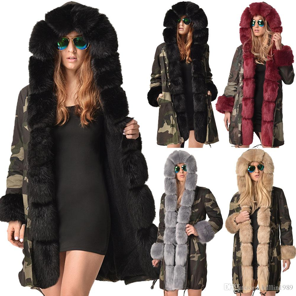 738ba4621d 2019 Plus Size Faux Fur Clothing Women S Three Quarter Coat Hooded Dust Coat  Winter Women S Trench Coats Long Sleeve Camouflage Jacket From Hilllin1989