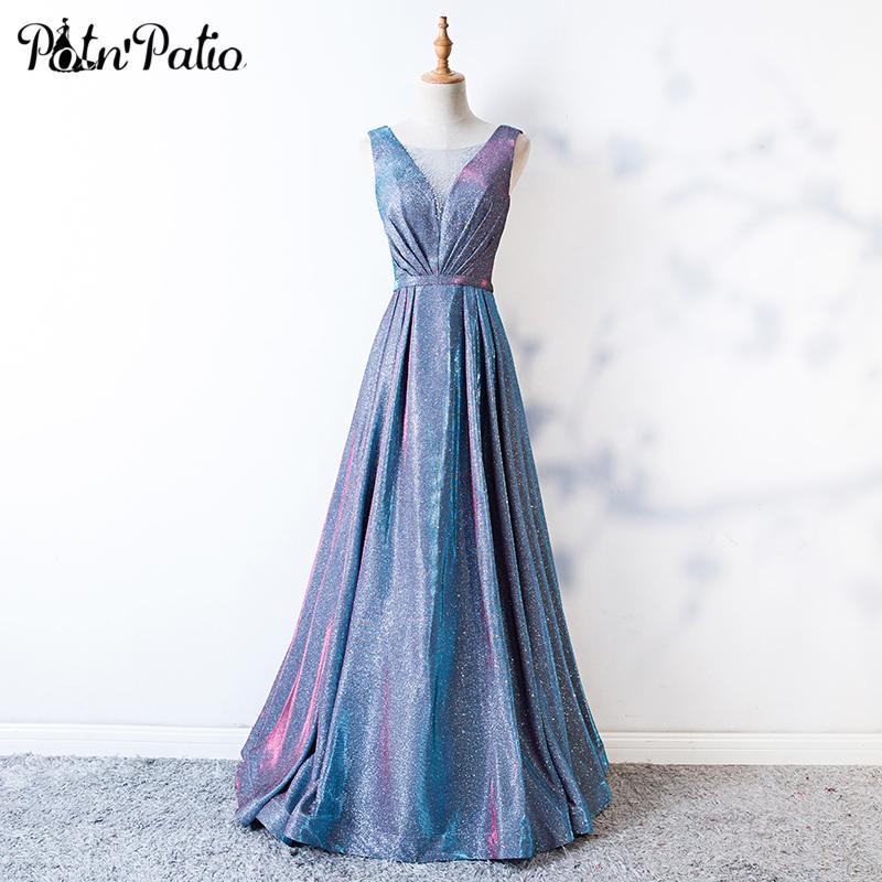 14717e3c9e Compre Lujo Brillante Azul Largo Vestido De Fiesta Sexy Sin Mangas Profundo  Escote En V Cristalino Vestidos Formales Elegantes Lace Up Vestidos De  Fiesta De ...
