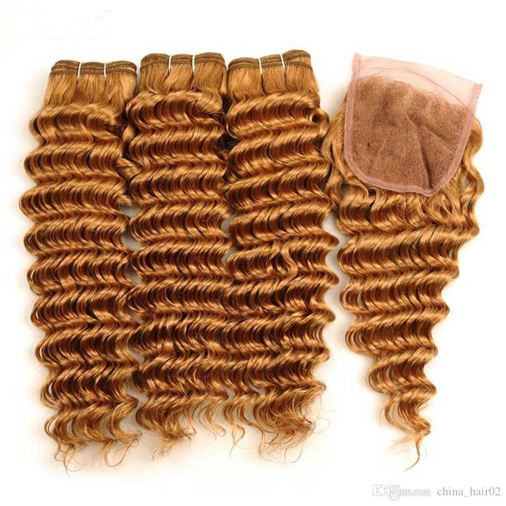 Indian Human Hair Honey Blonde Deep Wave 3Bundles with Closure #27 Light Brown Deep Wavy Lace Front Closure 4x4 with Weave Bundles