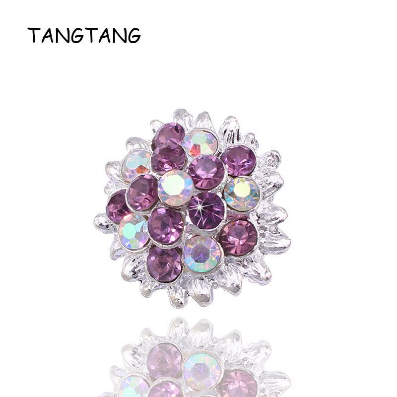 50PCS PackAB Cleasr Crystal Rhinestone Button Flat Back Decoration Silver Alloy Embellishment For Wedding Invitation Card NK001