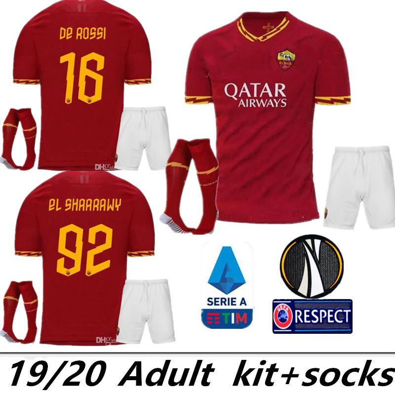 bf92db1cd 2019 2019 2020 AS Roma Home Soccer Jerseys Kit With Socks 18/19/20 DZEKO  PEROTTI TOTTI DE.ROSSI Rome Camisetas Football Shirt Kit Uniform From  Zxc503, ...