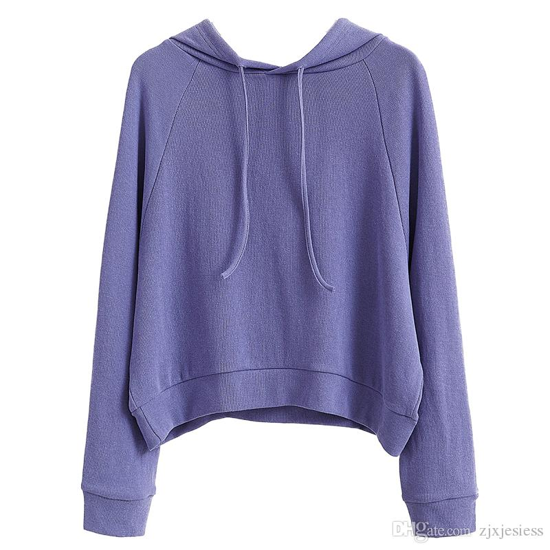 d2a9da218fd 2019 Pure Color Short Hooded Hoodie Women Spring And Autumn 2018 New Long  Sleeved Student Korean Version Loose Pullover Pphome Coat From Zjxjesiess