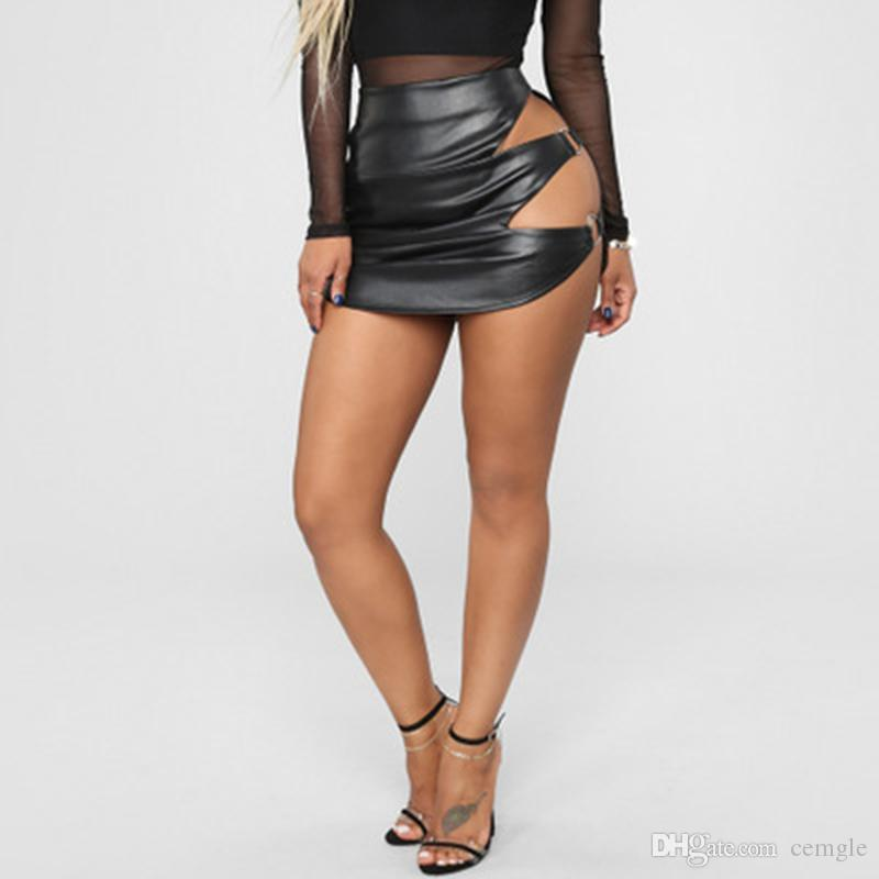 3deea43e8524 2019 2018 New Fashion Women Side Hollow PU Leather Hip Skirt Sexy Mini  Short Skirts Club Party Wear From Cemgle, $18.09 | DHgate.Com